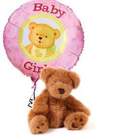 """It's a Girl"" Balloon with Bear"