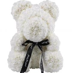 Luxury White Rose Teddy