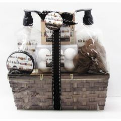 Opaline European Formula Wooden Gift Basket 6pc Bath Set