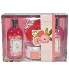 Opaline Rose Petals 4pc Bath Set